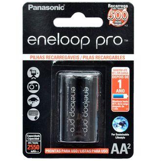 Cartela Panasonic Eneloop Pro com 2 Pilhas AA