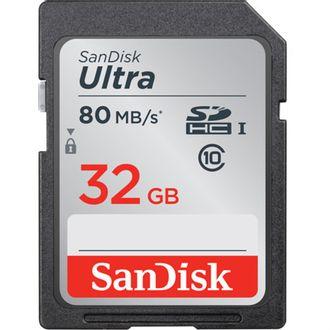 Cartão de Memória Sandisk Sd Ultra 32Gb - 80 Mb/S