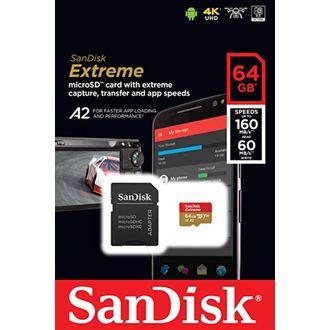 Cartão de Memória Microsdxc Sandisk 64Gb Extreme Classe 10 UHS-I U3 A2